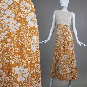 L Vintage 60s Linen Floral Hostess Maxi Dress